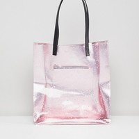 Skinnydip Rose Gold Star Glitter Tote Bag at asos.com