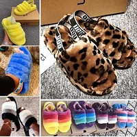 UGG Hight Quality Girls Fur Flats Sandals Slipper Shoes For Women