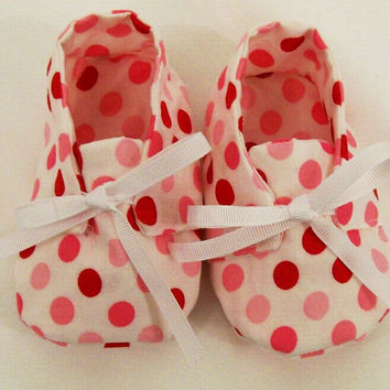 Baby Girl Red Dot  Soft Fabric Shoes, Baby Girls Gift, Baby Shower Gift, Made in the USA,  #14