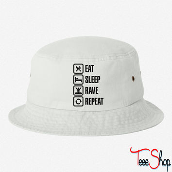 Eat sleep rave repeat bucket hat