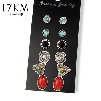 17KM 2 Style Geometric Stud Earring Bohemia 6 Pairs/Set Colorful Tibetan Earrings Set For Women Bijoux Femme Unicorn Jewelry