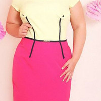 Yellow and Pink Plus Size Short Sleeve Bodycon Plus Size Dress