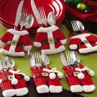 Set of 6 Christmas Santa Claus Silverware Cutlery Holder Pockets Dinner Decor = 1945906564