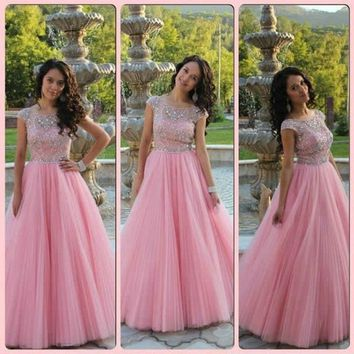 2015 New Cap Sleeve Tulle Prom Dresses Pink Long Pageant Dress vestidos de fiesta A-line Dress for 15 Years Sheer Neck