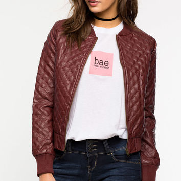 Quilted Leatherette Bomber
