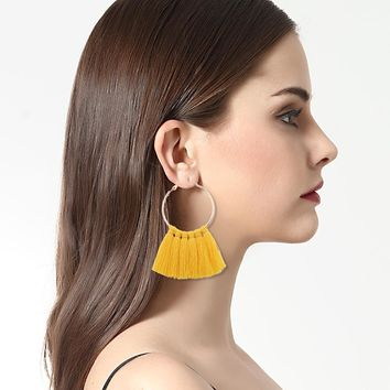 Women Long Tassel Fringe Dangle Earrings