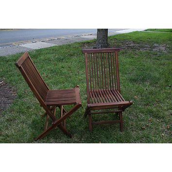 Ala Teak Wood indoor Outdoor Patio Garden Yard Folding Chair Seat Teak Chair Set Dark (2 chairs)