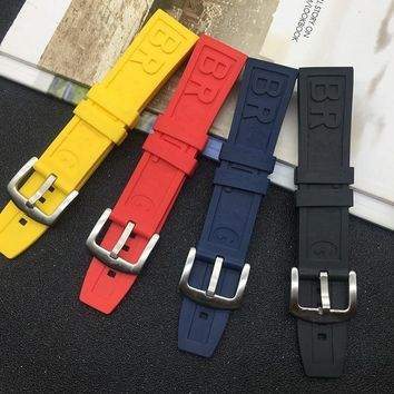 Brand 22mm 24mm Rubber silicone Watch band  Black Blue Yellow Red Watchband For Breitling Navitimer Avenger strap logo on tools