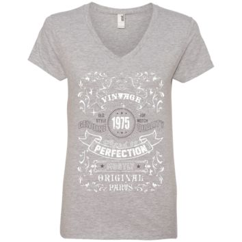 Vintage 1975 Age to Perfection Ladies' V-Neck T-Shirt