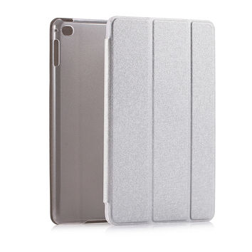 Stand Leather Case For iPad mini 4 Silk Slim Clear Transparent Smart Back Cover for Apple iPad Mini4