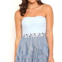 Short Two Tone Homecoming Dress with Tie Back Stone Empire Waist