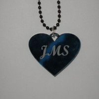 Personalized Initials heart necklace marbled acrylic