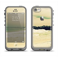 The Vintage Subtle Yellow Beach Scene Apple iPhone 5c LifeProof Fre Case Skin Set