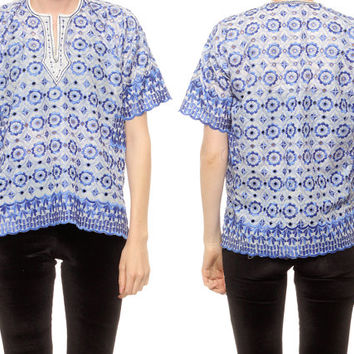 Embroidered Top Blue SCALLOPED Cutwork Embroidery Cut Out Blouse 80s Bali Ethnic Boho Tunic 1980s Cutout Bohemian Shirt Extra Small XS