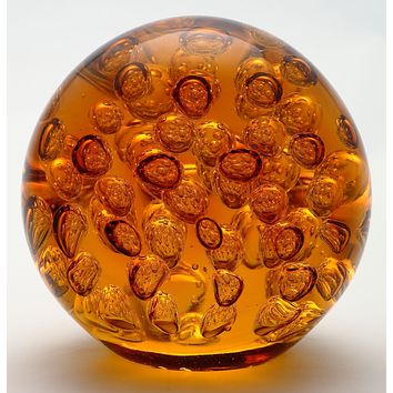 5.5 inch Clear Amber Ball Paperweight