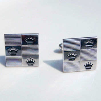 Vintage Silver Cadillac Crown Cuff Links Car Antique