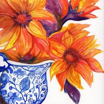 Orange and Red Sunflowers, Original watercolor painting. flowers in blue and white vase