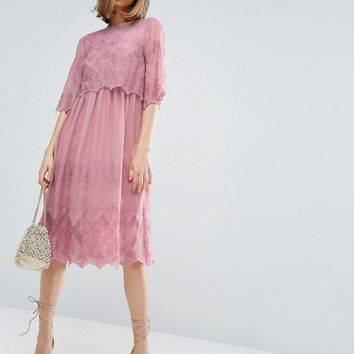 ASOS PREMIUM Double Layer Pretty Embroidered Dress at asos.com
