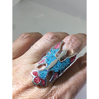 Vintage 1980's Native American Style Southwestern Real Turquoise Coral Stone inlay Men's Hawk Ring