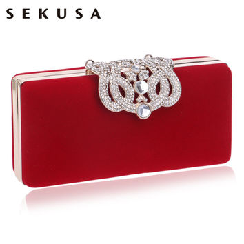 Crown diamonds velvet women bag day clutches small purse bag crystal evening bags black/red candy color tote