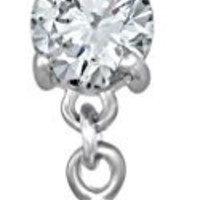 14g Surgical Steel Jeweled CZ Cross Dangle Belly Button Ring