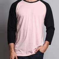 Men's Baseball T-Shirt (Dirty Pink/Black)