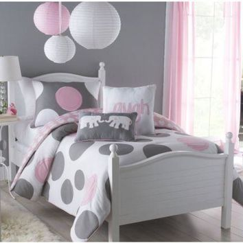 Twin Size Comforter Set Kids Teen Youth Dorm Bedding Bedroom Polka Gray Modern