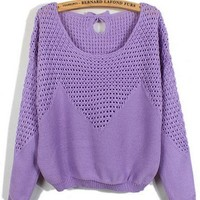 Kawaii Lolita Bowknot Decorate Hollow Out Pullover Sweater - Purple, Rose Red, Apricot or Sky Blue from Tobi's Finds