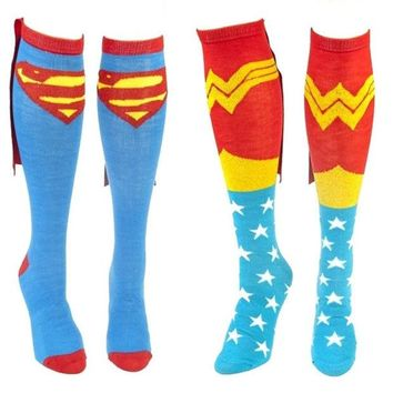 VONGB5 Comics Superman and Wonder Woman Couple Caped Knee Socks = 1946581572