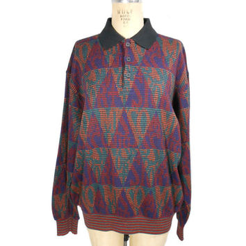 1980s Missoni Sport Sweatshirt / Collared Sweater / Mens Vintage Sweatshirt / Cosby Sweater / Oversized Sweater / Size Large
