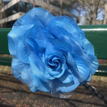 Sky Blue Rose & Hair or Scarf Clip