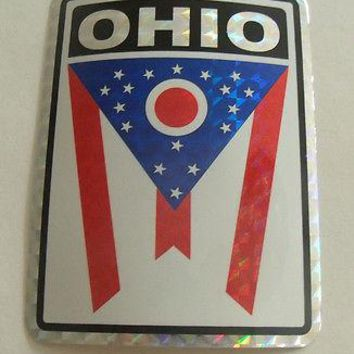 "Ohio Flag Reflective Sticker 3""x4"" Inches Adhesive Car Bumper Decal"