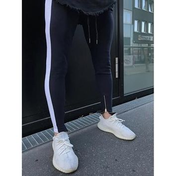 hip hopMens side striped track pants bottom zipper pencil pants elastic waist streetwear long trousers sportswear