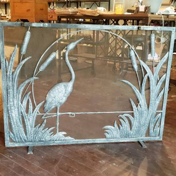 Hand forged Wrought Iron Firescreen with Herend