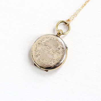Antique Victorian 10k Gold Filled Locket Necklace - Rare 1800s Coastal Town Etched Intricate Design Jewelry With Glass Inserts & Photographs