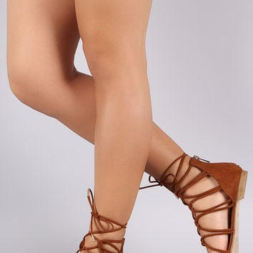 Bamboo Suede Strappy Lace-Up Flat Sandal