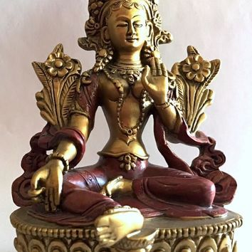 Nepali Green Tara Seated on Lotus Statue, Gold and Red 6H
