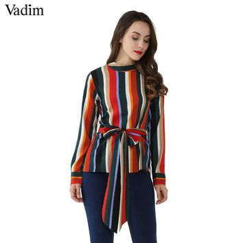 Vadim Women Vintage Bow Tie Striped Shirt Stand Collar Zipper Long Sleeve Blouse