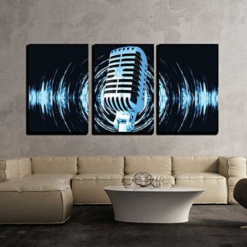 """wall26 - 3 Piece Canvas Wall Art - Vintage microphone on the abstract background - Modern Home Decor Stretched and Framed Ready to Hang - 24""""x36""""x3 Panels"""