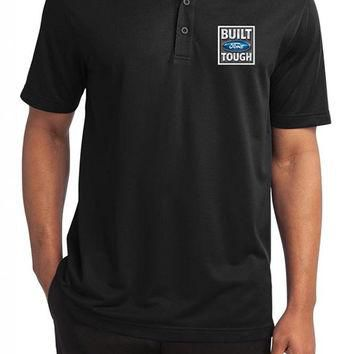 Yoga Clothing for You Mens Built Ford Tough Textured Polo Shirt - Black
