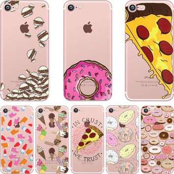 For iphone case Dessert Pizza Donuts Transparent Clear soft silicon TPU case cover For Apple iphone 7 7plus 5S SE 6 6S 6plus