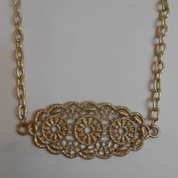 SALE 20 inch long Gold Necklace with Metal Lace Pendant