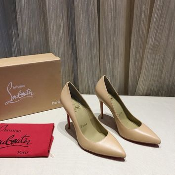 CL Christian Louboutin Women Trending Leather beige High Heel Shoes Best Quality