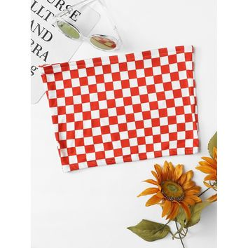 Gingham Crop Tube Top Red