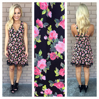 Black & Pink Floral & Lace Dress