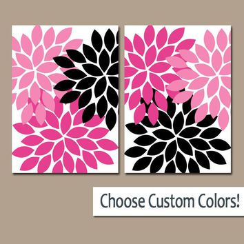 Pink Black Flower WALL Art, Flower Bathroom Art, Floral Bedroom Pictures, Canvas or Prints, Black Pink Girl Nursery Decor, Set of 2 Pictures