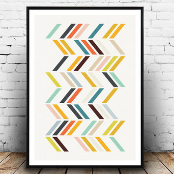 Geometric wall art, Abstract art, Retro wall art, Mid century print,  Multicolor print, Orange teal print, Mid century art, Geometric print