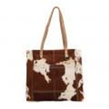 Caramel Front Pocket Hairon Tote Bag