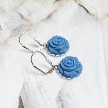 Polymer Clay Rose Earrings. Blue Flower Drop Earrings. Blue Jewelry, Flower Jewelry