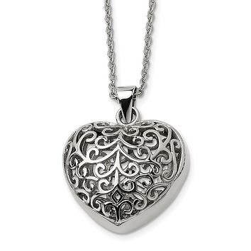 Stainless Steel Large Filigree Puffed Heart Necklace, 22 Inch